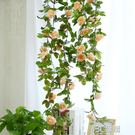 花藤 仿真玫瑰花藤裝飾藤條塑料花藤蔓纏繞...