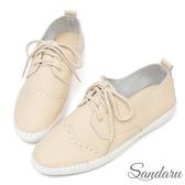 訂製鞋 真皮柔軟雕花綁帶休閒鞋-米色下單區