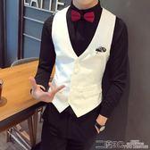 西服背心 發型師酒吧KTV韓版白色休閒西裝小背心男背心修身定制logo工作服 二度3C