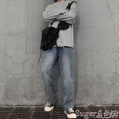 直筒褲INSstudios.19AW韓國ins潮流復古做舊色水洗牛仔褲直筒褲 男女潮 交換禮物