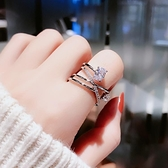 日韓潮人開口鋯石戒指女個性簡約韓國學生食指戒時尚網紅ins指環