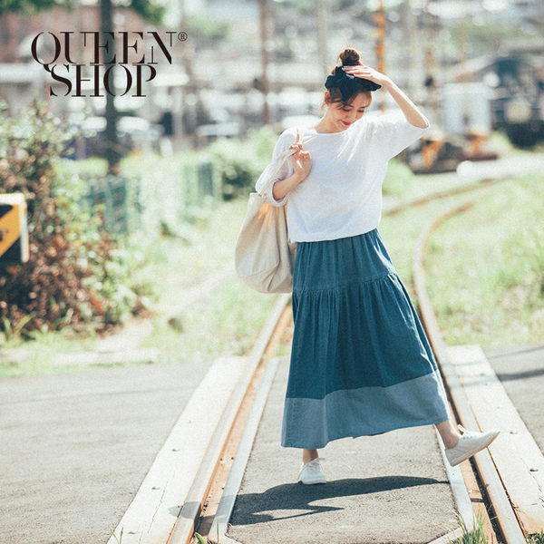 Queen Shop【03020562】深淺配色剪接造型牛仔長裙*現+預*