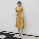 短袖洋裝-V領腰部鏤空繫帶連身裙73xk22【時尚巴黎】