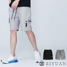 【OBIYUAN】工裝短褲 鬆緊褲頭 多口袋 彈性 工作褲 共2色【X69180】
