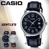 CASIO 卡西歐 手錶專賣店 國隆 MTP-V002L 指針男錶 皮革錶帶 防水 日期顯示 全新品