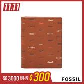 FOSSIL LOGAN 咖啡色童趣真皮RFID護照夾