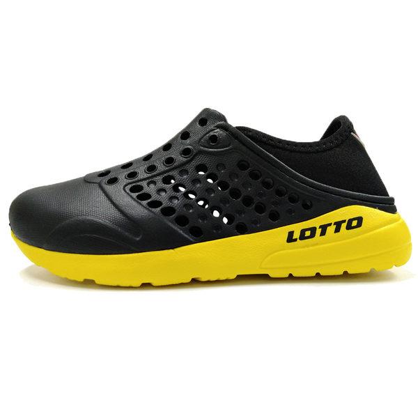 Lotto 樂得 童鞋 男女鞋 黑 黃 世足賽 德國款 水鞋 洞洞鞋 輕便防水透氣 懶人鞋 LT8AKS6760 LT8AMS6750