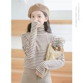 復古條紋長袖T恤女2020新款秋冬加絨加厚高領打底衫韓版修身上衣