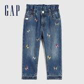 Gap女幼童 童趣風格刺繡鬆緊牛仔褲 600381-蝴蝶圖案