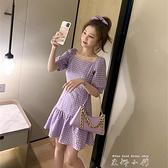 學院風方領格子紫色洋裝女2021春夏新款法式復古可鹽可甜裙子女 雙十同慶 限時下殺