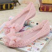 洞洞鞋 蝴蝶結涼鞋夏季塑膠洞洞鞋女平底沙灘鞋防滑果凍鞋女水晶跳舞鞋女 晶彩生活