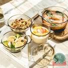 2件套 甜品碗雙耳沙拉碗套裝北歐茶色玻璃...