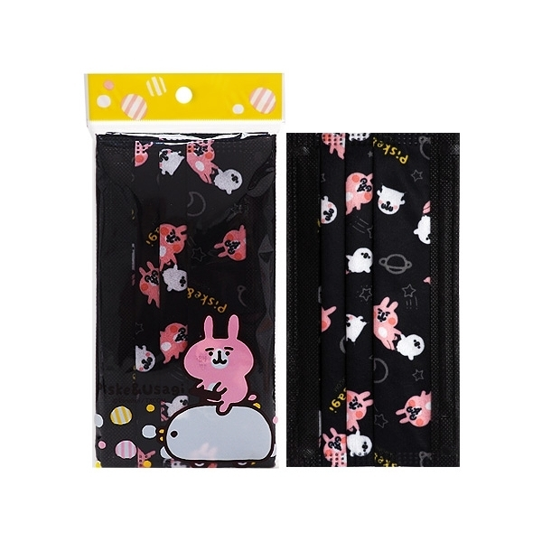 卡娜赫拉的小動物~拋棄式防塵口罩-成人黑(5片裝)【小三美日】