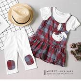 蝴蝶結兔子紅格紋假兩件上衣+內搭褲2件組 套裝 荷葉邊 可愛 短袖 補丁 哎北比童裝