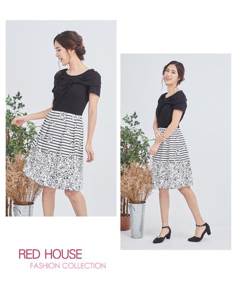 【RED HOUSE 蕾赫斯】蝴蝶結花朵條紋洋裝(共2色)