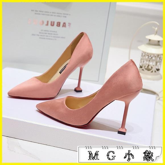 MG 粗跟鞋-黑色絨面尖頭細跟中跟高跟鞋磨砂工作鞋