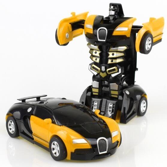 兒童節禮物變形玩具金剛5 兒童男孩大黃蜂一鍵慣性撞擊PK汽車機器人非遙控 潮男街