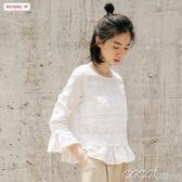 雪紡娃娃衫 娃娃衫韓版寬鬆顯瘦淑女T恤長袖喇叭袖上衣 coco衣巷