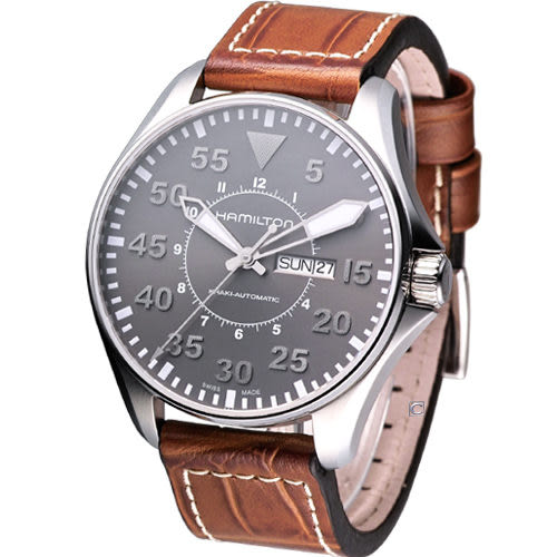HAMILTON Khaki 航空飛行自動機械腕錶 H64715885 灰色面