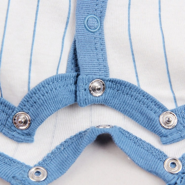 男Baby男童短袖連身衣淺藍色直條棒球衣純棉連身衣現貨 歐美品質