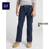 Gap男童 休閒彈力直筒牛仔褲 358223-深色水洗做舊