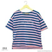 【INI】活力穿搭、休閒品味色調條紋上衣.藍色