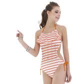 ★奧可那★ 橘戀白網眼單件式泳衣