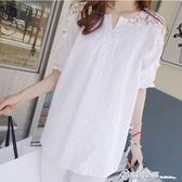 韓版加肥加大碼 t恤 顯瘦胖mm V領蕾絲拼接上衣 鏤空 短袖襯衫女 西城故事