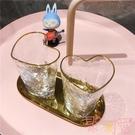 心形金邊錘目紋玻璃杯 愛心水杯 早餐杯情侶杯【聚可愛】