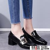 單鞋女春季40英倫風小皮鞋胖寬腳肥中跟粗跟高跟鞋子【邦邦男裝】