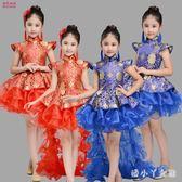 表演服裝 元旦女童公主裙兒童古箏演出服裝女孩舞蹈小學生喜慶 df10046【潘小丫女鞋】