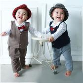 長袖連身衣 紳士造型服 背心 爬服 哈衣 男寶寶 小紳士 小花童 2件套 Augelute Baby 50809