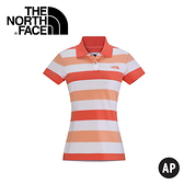 【The North Face 女 LOGO POLO衫《火燼橘/淺橘》】CS58/休閒衫/短袖快排衣/彈性舒適/透氣