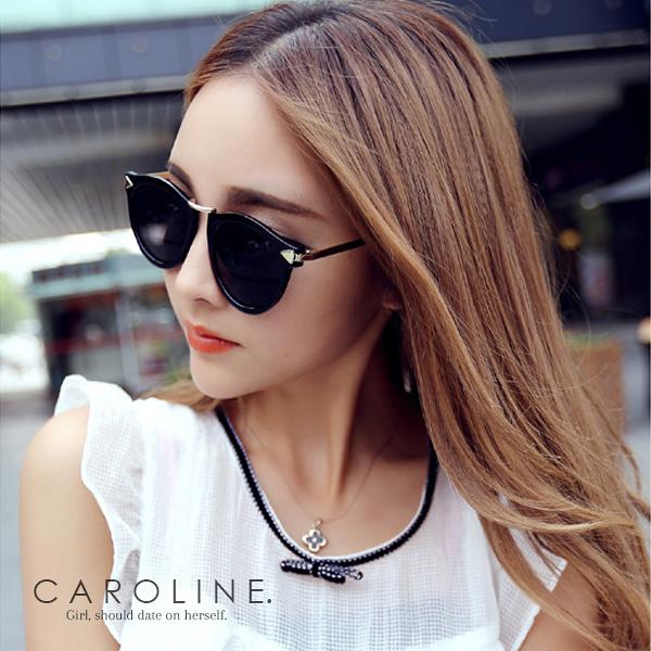 《Caroline》★年度最新.流行時尚潮人復古圓形抗UV太陽眼鏡 67395