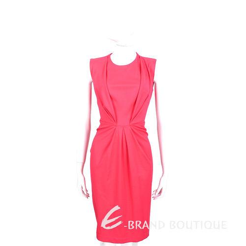 PLEIN SUD FAYCAL AMOR 桃粉色抓褶設計無袖洋裝 1420094-41