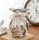 花瓶 法式絲帶創意玻璃花瓶透明歐式客廳百合插花大花瓶電視柜裝飾擺件【快速出貨八折鉅惠】
