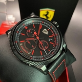 星晴錶業-FERRARI法拉利男錶,編號FE00024,48mm黑錶殼,深黑色錶帶款