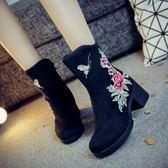秋冬新款繡花短靴中國風棉靴子復古民族風時尚粗跟馬丁靴女鞋