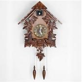 中式複古布穀鳥鐘咕咕鐘手工實木雕刻掛鐘歐式客廳兒童房掛鐘鐘錶