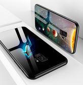 三星 s9 鏡面鋼化玻璃手機殼 三星 note8 夜光玻璃保護套 Samsung S9 plus 軟邊全包防摔手機保護套