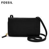 FOSSIL Brynn 黑色超薄真皮 / 皮夾 兩用功能側背扁包