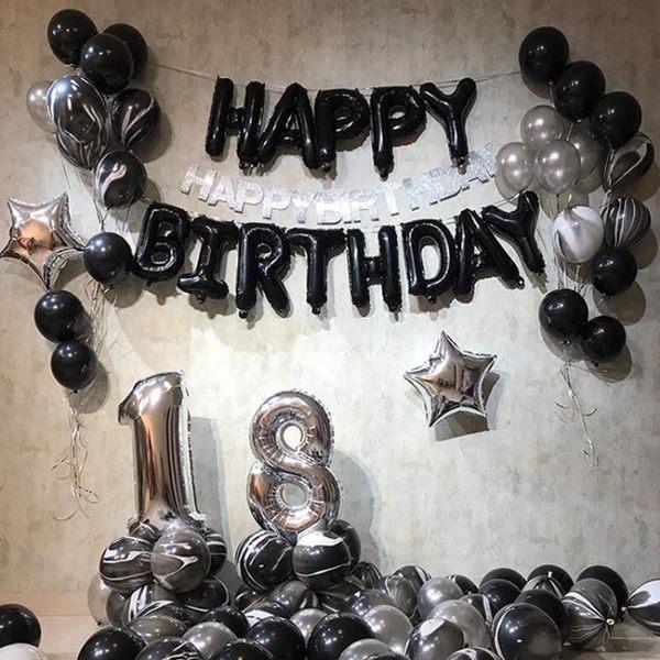 派對氣球成人套餐babypai生日派對氣球佈置裝飾創意黑白字母進口鋁膜氣球 台北日光
