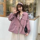 秋裝韓版新款寬鬆工裝BF風小個子POLO領時尚百搭長袖外套女裝 伊莎公主