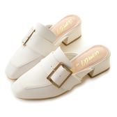 amai金屬方釦皮帶小方頭穆勒鞋 白