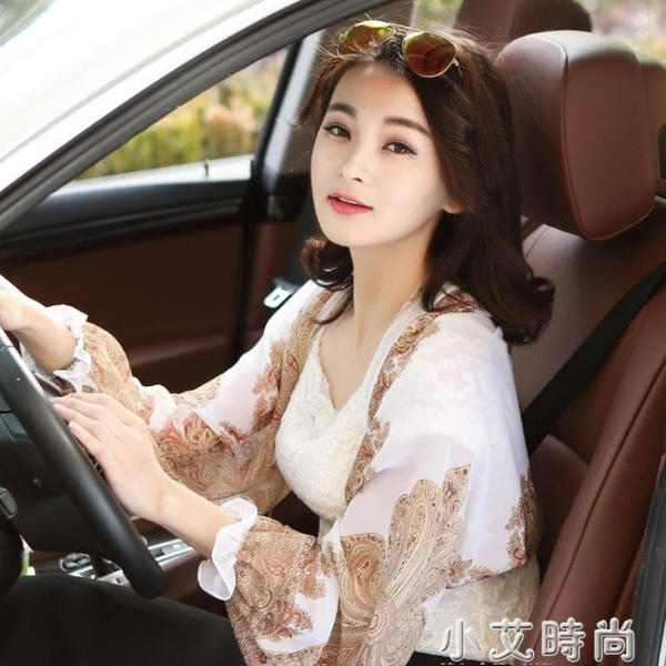 2021春夏新款時尚女裝白色雪紡絲巾圍巾衫寬鬆大碼防曬衣小披肩潮 小艾新品