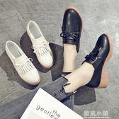 2018新款女鞋韓版英倫學院風鞋子春季小白鞋流蘇小皮鞋女粗跟單鞋 藍嵐