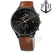 PH PAUL HEWITT / PH-C-B-BSR-1M / Chrono Line 藍寶石水晶玻璃 計時 日期 真皮手錶 黑x咖啡 42mm