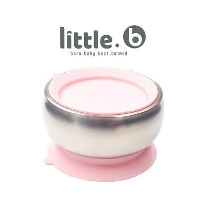 美國 little.b 316不鏽鋼餐具系列|雙層不鏽鋼吸盤碗-甜美粉