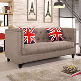 【森可家居】凱文二人位沙發椅 7CM205-2 美式復古 工業風 布沙發