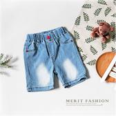紅釦淺色系刷白牛仔短褲 百搭 休閒 夏天 韓版 貓爪 五分褲 牛仔褲 男童短褲 哎北比童裝